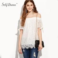 Self Duna 2017 Summer Women White Lace Blouse Slash Neck Crochet Bow Loose Sexy Female Blouse