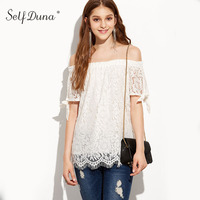 Self Duna 2017 Summer Women White Lace Blouse Slash Neck Crochet Bow Loose Sexy Female Blouse