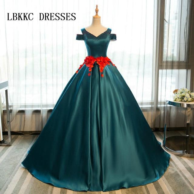 8896058b740 Green Quinceanera Dresses Satin With Sash Flowers Girls Masquerade Sweet 16 Dresses  Ball Gowns Vestidos De 15 Anos