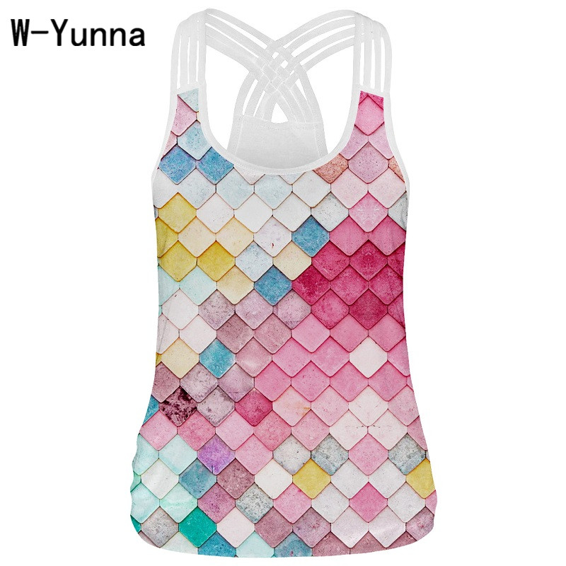 1e0c68936256c Colorful Plaid Print U-neck Sexy Tank Tops Women Quick-drying Soft Lace  Camisole Tank Top Fitness Tee top for Femminino