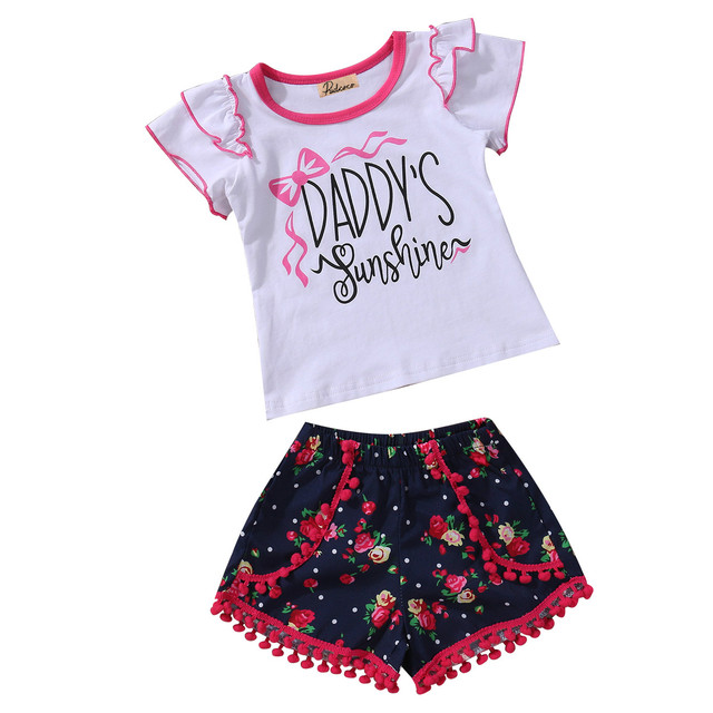 7daae76467ae Cotton Summer 2pcs Baby Girl Outfits Clothes Kids Girls Daddy Sunshine T  shirt Tops Floral Tassels Bottom Shorts Clothing set