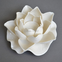 Attractive Porcelain Lotus Sculpture Feng Shui Craft Embellishment Accessories Furnishing for Room Decor and Buddhism Supplies