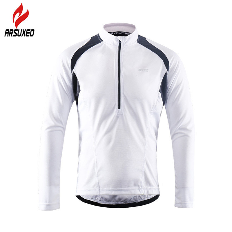 ARSUXEO Reflective Mens Long Sleeve Cycling Jersey with Half Zipper Back Pocket Breathable MTB Bike Bicycle Shirts ClothingARSUXEO Reflective Mens Long Sleeve Cycling Jersey with Half Zipper Back Pocket Breathable MTB Bike Bicycle Shirts Clothing