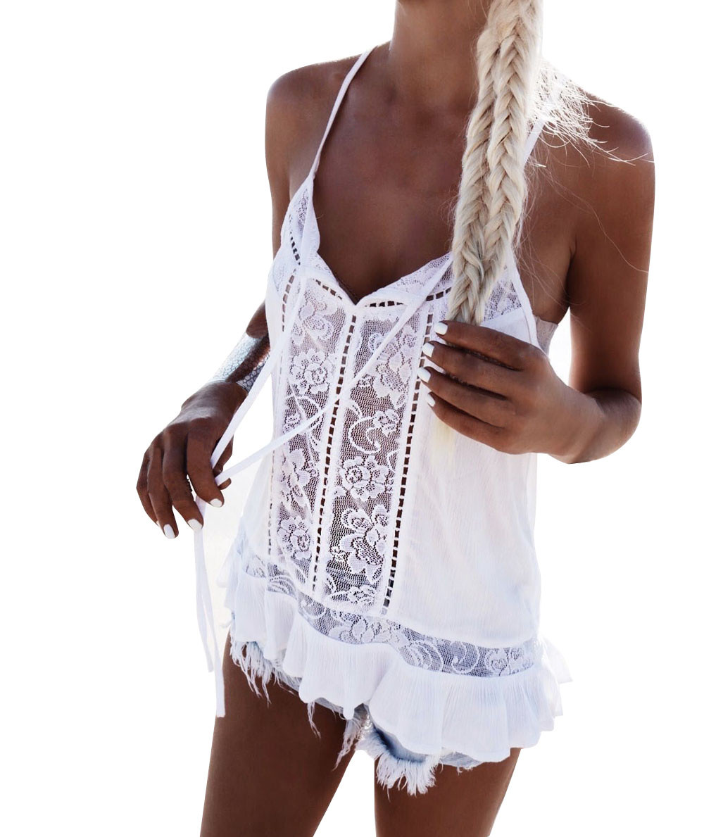 Free Ostrich Tank Tops Summer Style Ladies Tops Beaded White Lace Blouse Shirt Hollow Out Sleeveless Tank Top Women Camis C1635