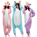 Unisex Adult Winter Pajamas 2017 Unicorn Animal Pajama Sets Sexy Hooded Homewear Flannel Sleepwear Female Cute Cartoon Pyjama
