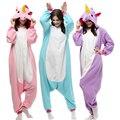 Unisex Adulto Pijamas de Inverno 2017 Unicórnio Animais Conjuntos de Pijama Sexy Com Capuz de Flanela Homewear Sleepwear Fêmea Bonito Dos Desenhos Animados do Pijama
