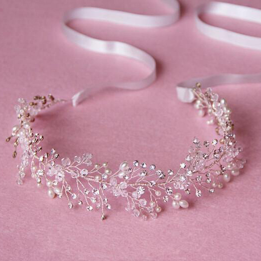Luxury Silver Gold Pearl Rhinestone Hairbands Headband Crown Crystal Bridal Head Wedding Hair Piece Accessories Jewelry Tiara
