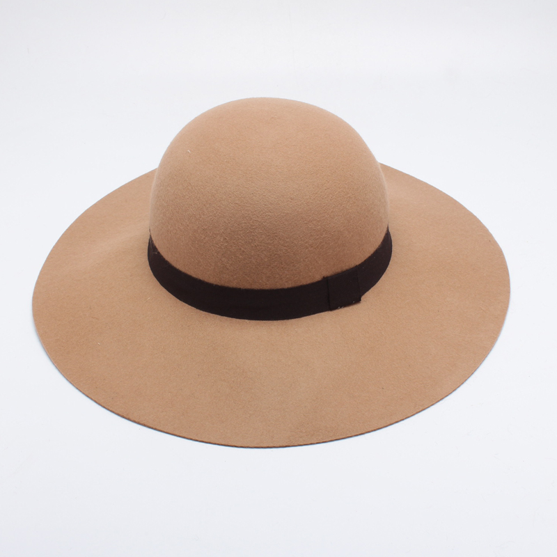 cd1f489e Women Wide Brim Winter Hats 100% Wool Camel Church Hat For Female Felt Wool  Cap Fedora Chapeau Femme-in Women's Fedoras from Apparel Accessories on ...