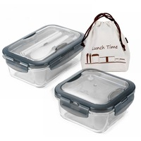 0.43L 0.76L Leakproof Thicken Glass Lunch Box, Transparent Borosilicate Glass bento Box Dinnerware Sets; Rectangle,Round