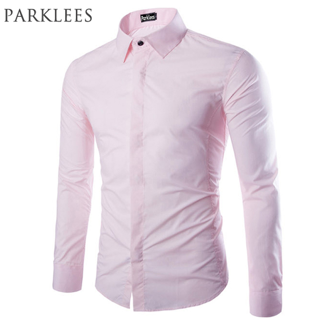 c215f0d54f New Pink Shirt Men Chemise Homme 2016 Spring Mens Fashion Soild Color Long  Sleeve Dress Shirts Casual Brand Slim Fit Shirt Men