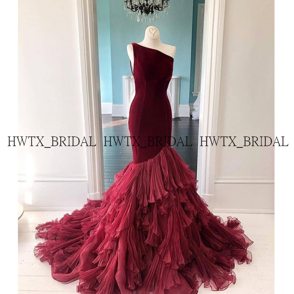 Long Mermaid Evening Dress Party For Women 2020 Customize Burgundy One Shoulder Tiered Ruffles Arabic Prom Dresses Formal Gown