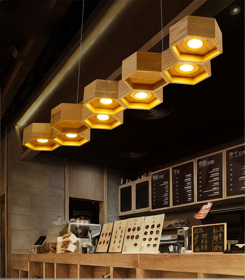 Modern Creative OaK Wood Contracted Honeycomb Wooden Pendant Lights LED Pendant Lamp Lighting fixture for Cafe Living Room Decor creative personality for contemporary and contracted wooden desk lamp fold wood rocker fashionable living room