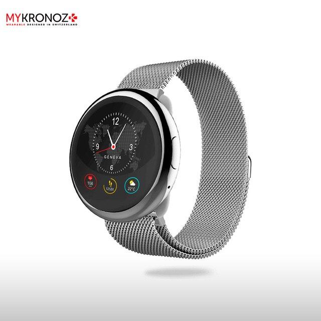 Смарт часы MyKronoz ZeRound2HR Elite цвет серебро, миланский сетчатый браслет цвет серебро