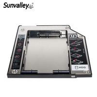 """Sunvalley Plastic & Aluminum SATA to SATA 2nd HDD Caddy 9.5mm 2.5"""" SSD Case HDD Enclosure for Lenovo T400 CD DVD ROM Optibay