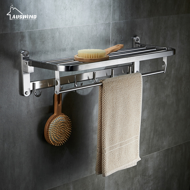 Auswind Contemporary 304 Stainless Steel Towel Rack Silver Polished