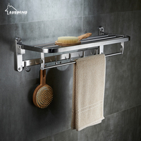 AUSWIND Contemporary 304 Stainless Steel Towel Rack Silver Polished Fold Towel Shelf With Hooks Wall Mount
