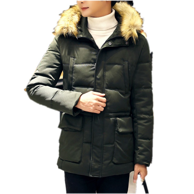 ФОТО 2016 new winter men coats The fashion leisure paragraph hooded coat grows in raccoon fur coat