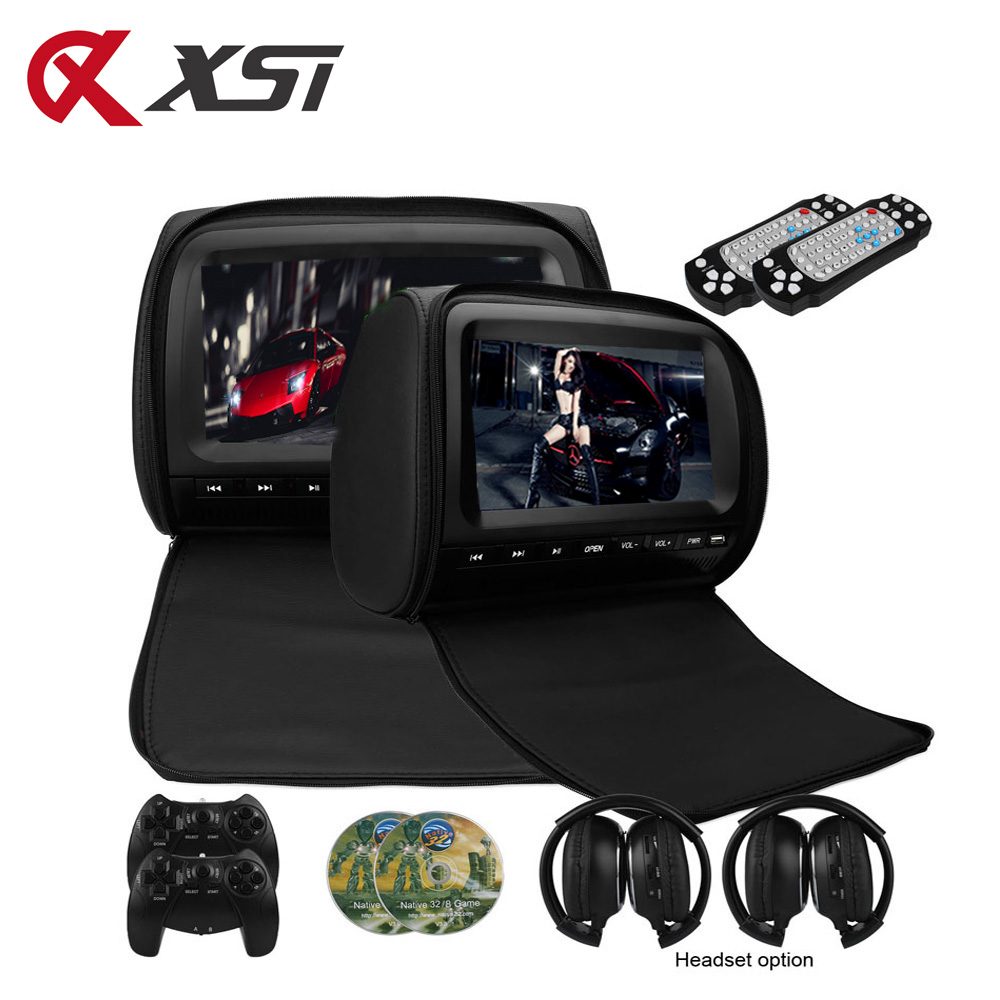XST 2PCS 9 Inch 800 480 TFT LCD Capacitance Screen Car Headrest Monitor DVD Video Player