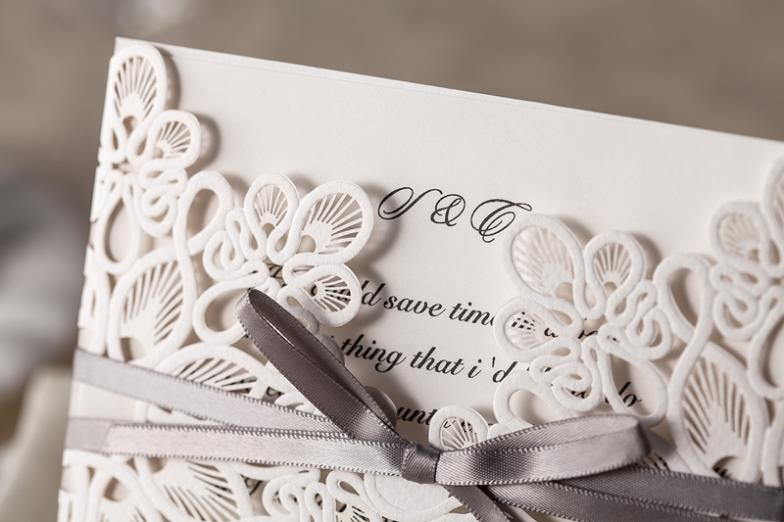 30pcsset White Laser Cut Vintage Wedding Invitation Cards Elegant