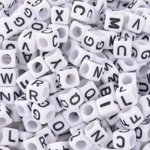 FUNIQUE 500 шт./лот белые бусины-кубики с буквами для ювелирных изделий DIY квадратные акриловые бусины с буквами для ювелирных изделий DIY 6 мм случайным образом смешанные