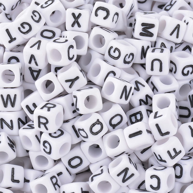 195 x CUBED ALPHABET LETTER SPACER BEADS 6mm STOCK CLEARANCE