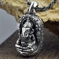 V.YA 100% 925 Sterling Silver Ganesha Buddha Pendants Elephant Gods Amulet Pendant For Men Women Kids Fine Jewelry Best Gift