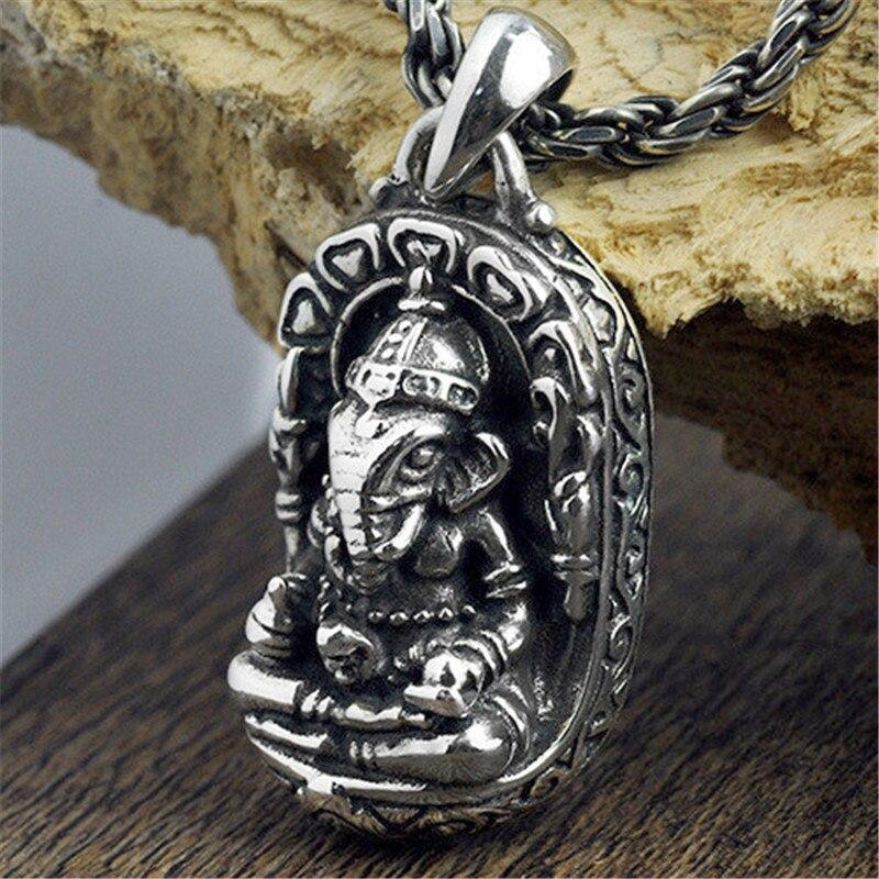 V. YA 100% 925 argent Sterling Ganesha bouddha pendentifs éléphant dieux amulette pendentif pour hommes femmes enfants bijoux fins meilleur cadeau
