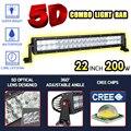 RACBOX 22 inch 5D 200 Вт LED Work Light Bar Combo Изогнутые/Прямой Offroad Лампы Вождения 12 В 6000 К Для Седельный Тягач ATV CREE чипы