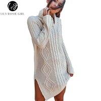 Lily Rosie Girl Women S Turtleneck Sweater Full Sleeve Long Pullovers Jumpers Split Autumn Winter Pull
