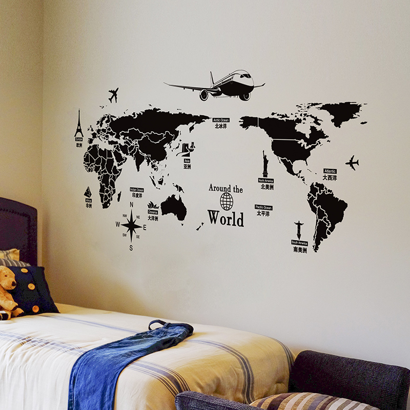 Shijuehezi black color world map wall sticker vinyl diy world shijuehezi black color world map wall sticker vinyl diy world travel view wall art for living room office bedroom decoration in wall stickers from home gumiabroncs Choice Image