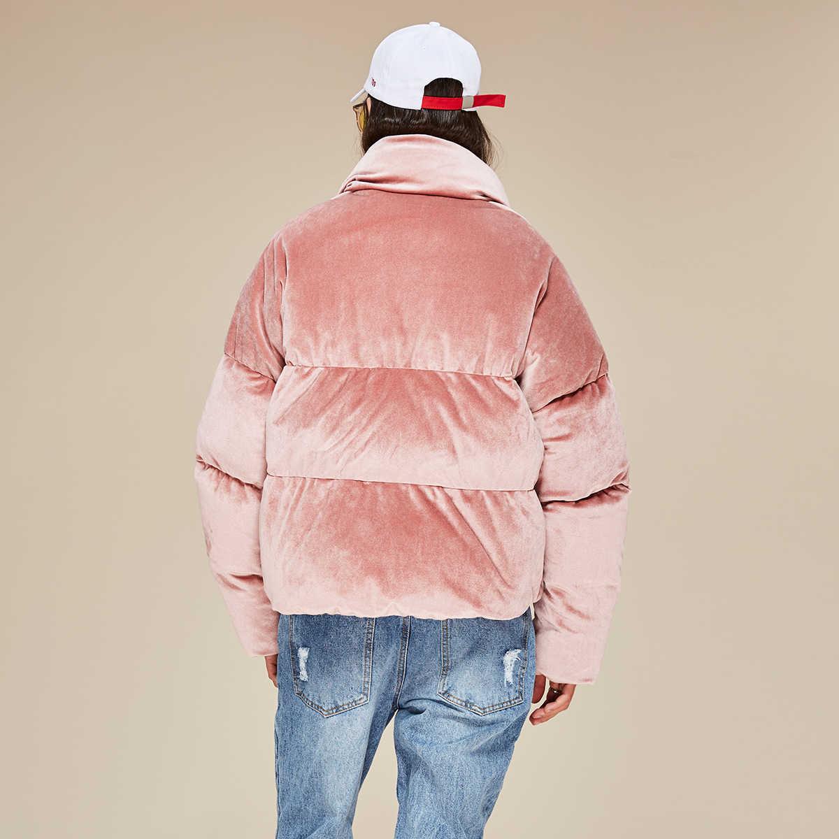 783c3661747 ... JAZZEVAR новая зимняя мода женщина толщиной 90% пуховик бархатное платье  мини парки розового цвета пальто ...
