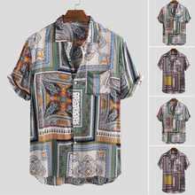2021 sommer Vintage Ethnische Stil Männer Hemd Lose Druck Taste Hohe Qualität Kurzarm Urlaub Strand Hawaiian Shirts Camisa