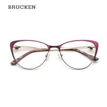 e83070674 Mulheres de metal Óculos de Armação de Metal Mulheres Óculos Olho De Gato  Óculos de Armação Miopia Óptico Claro Designer de Marc.