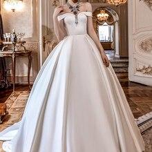 Silk Taffeta A-line Wedding Dress 2019 with Court Train