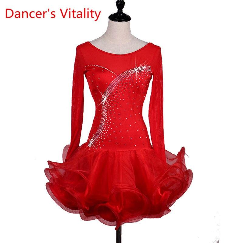 High-grade Diamond Woman Latin Dance Competition Dress Lady Latin Dance Performance Dance Costume With Long Sleeves