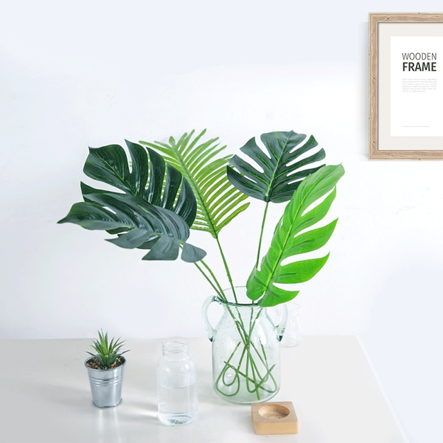 1pc Large Tropical Monstera Palm Tree Leaves Artificial Plants Green Plastic Leaf Fake Home Garden