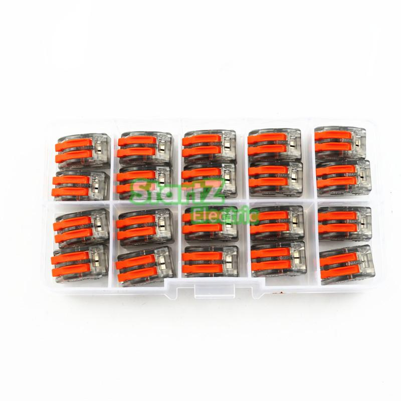 20pcs Wago Type Transparent Wire Connector 2 Pole Terminal