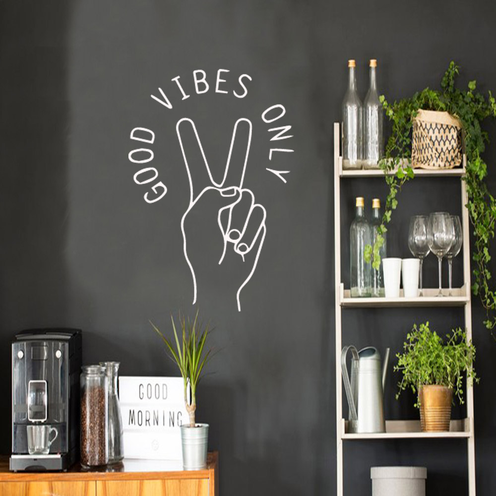 Drop Shipping good vibes only Wall Art Decal Stickers Material For Living Room Bedroom Nordic Style Home Decoration