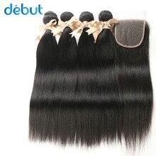 hot deal buy debut brazilian hair  weave bundles 2/3/4 bundles 8-26 inch silky straight bundles with closure  4x4 lace frontal closure 3 par