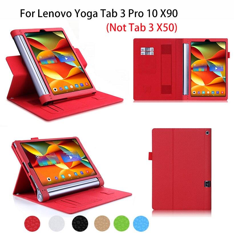 ①  Yoga Tab 3 Pro Кожаный чехол Lenovo Yoga Tab3 10.1 Pro X90 Крышка планшета Флип Стенд Руки Держатель ★