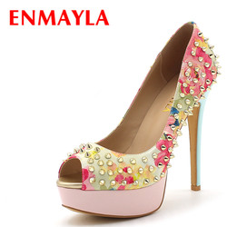 Enmayla women gold pumps platform rivets women s slip on party wdding shoes woman peep toe.jpg 250x250