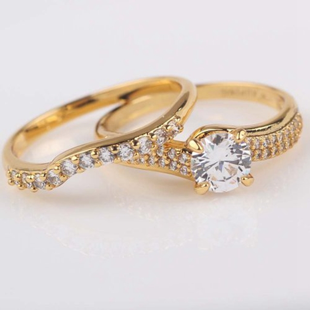 Engagement Rings  Yellow Gold Filled Womens Mens Ring Set Size 7