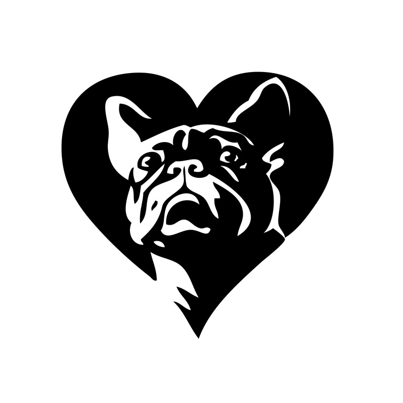 12.9*12.7CM FRENCH BULLDOG Dog Love Window Decorative Decal Car Styling Cartoon Stickers C6-1911