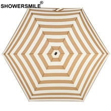 SHOWERSMILE Pocket Umbrella Folding Women Brown Stripe Sunny And Rainy Pongee Female Lightweight Mini Parapluie