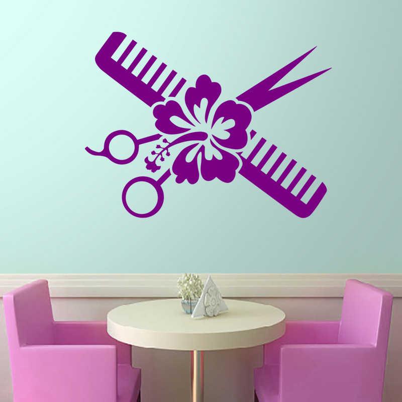 Naklejka do salonu fryzjerskiego nazwa nożyczki Salon fryzjerski naklejka neutralna fryzura plakat winylowe naklejki ścienne Decor Windows