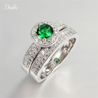 Green Stone Ring Sets White Gold Plated Sapphire Rings Wedding Bague For Women Couple Rings For