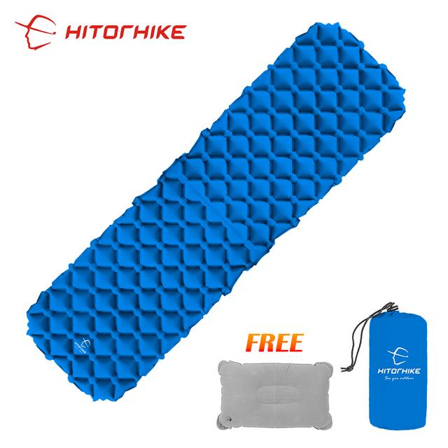 Hitorhike innovative sleeping pad fast filling air bag super light inflatable mattress with pillow life rescue 500g cushion pad