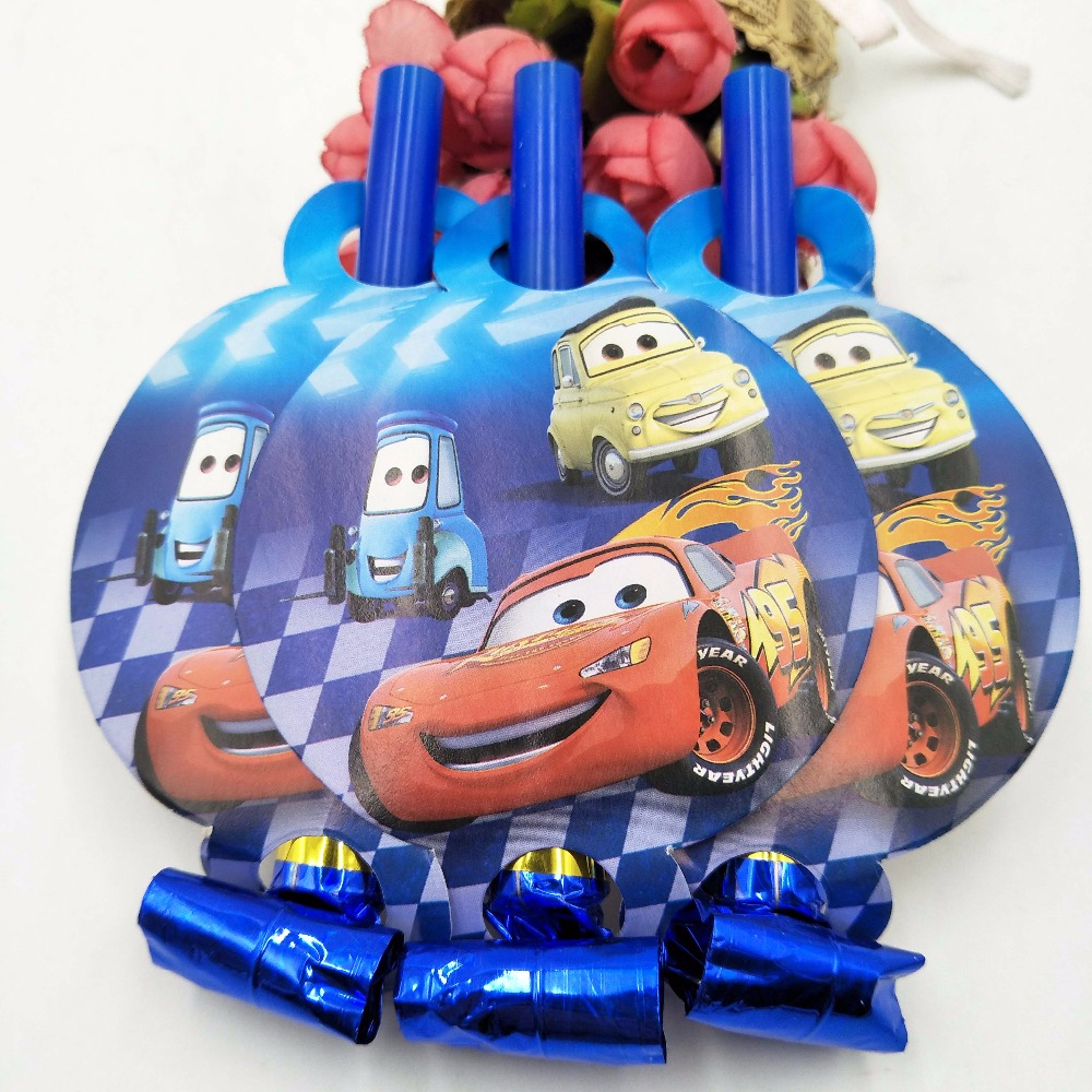6pcs set Lightning Mcqueen Theme Blowout Baby Birthday Party Supplies Funny Whistles Children Birthday Party Supplies Set in Noise Makers from Home Garden