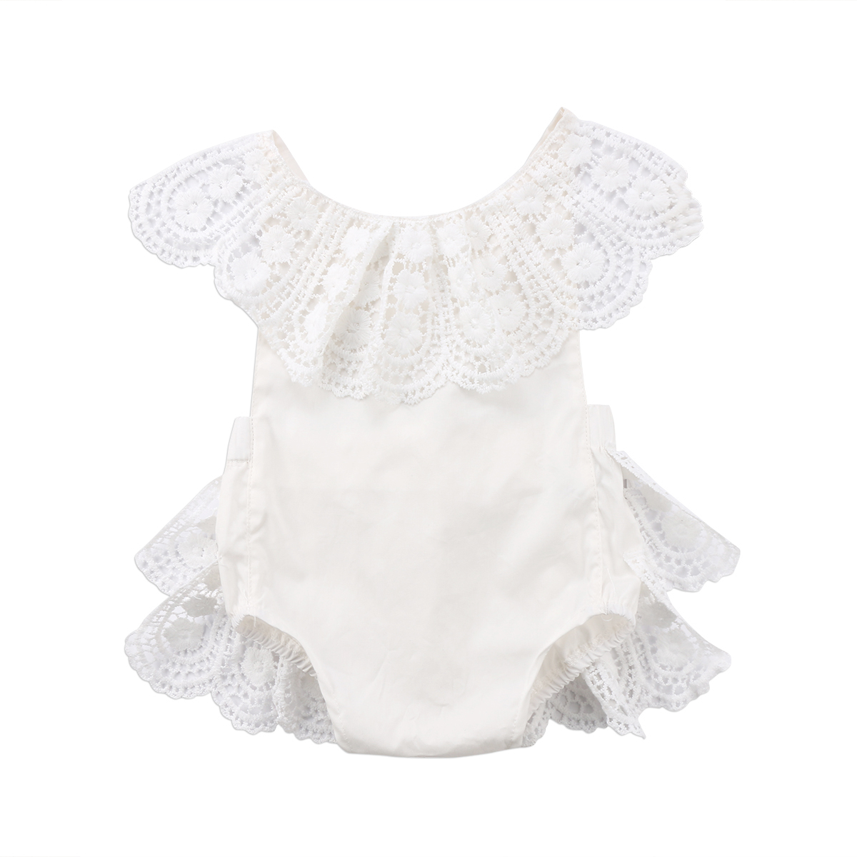 Summer Lovely Newborn Baby Girls Lace Flower Sleeveless Cotton Romper Outfits Sunsuit Clothes 2017 floral baby girl clothes summer sleeveless flower romper bodysuit ruffles halter jumpsuit headband 2pcs outfits sunsuit