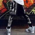Мода хип-хоп шаровары хип-хоп искусственного двух частей свободного покроя длинные брюки HARAJUKU ктж женщины хип-хоп